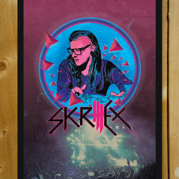 Skrillex Artwork Glass Framed Poster