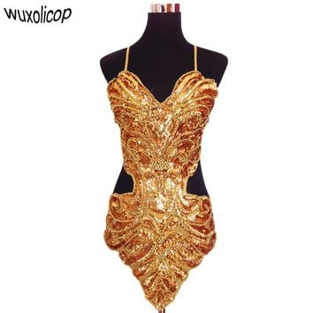 Sexy sequin beading butterfly belly band hollowed halter backless lace up belly dance dress set