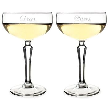 Personalized Champagne Coupe Toasting Flutes