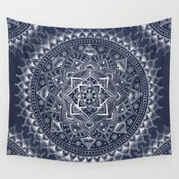 White Flower Mandala on Dark Blue Wall Tapestry by Laurel Mae