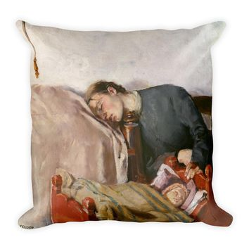 Mother's Day Art Print Reproduction Pillow by Christian Krohg, Vintage Art Print Pillow, Baby Shower Gift Square Pillow