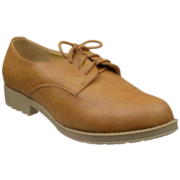 Womens Closed Toe Shoes Lace Up Oxford Vintage Brogues Tan