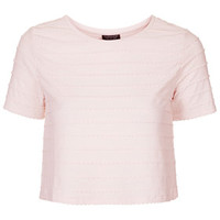 3D Cropped Scallop Tee - Pink