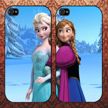 Disney Frozen Elsa And Anna Couple Design For iPhone Case, iPhone 4/4s,5/5s,5c, Samsung Galaxy S3 i9300,Galaxy S4 i9500 Case