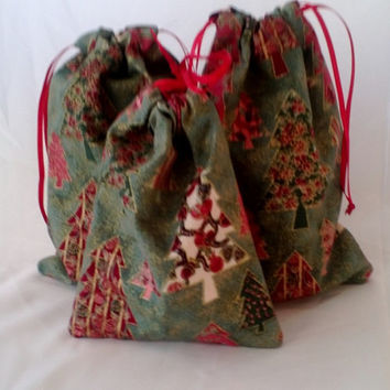 3 Christmas Tree Print Drawstring Fabric Gift Bags Upcycled, Reusable