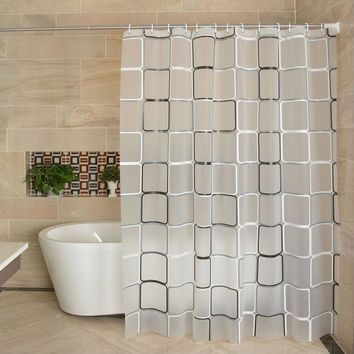 Feiqiong Brand Waterproof Shower Curtain Liner 180x180 PEVA Fabric For The Bathroom  With 12 High Quality Hooks