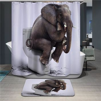 Bathroom Products Polyester Fabric 3D Elephant Printed Shower Curtains Waterproof Washable Curtains 180*180cm 12pcs Hooks