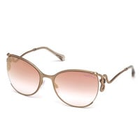 Roberto Cavalli Semi-Rimless Square Snake Sunglasses, Rose Gold/Pink