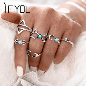 IF YOU 6PCS/Set Bohemia Vintage Turkish Beach Rings For Women Tibetan Silver Color knuckle Joint Moon Turkish Midi Ring Set 2017