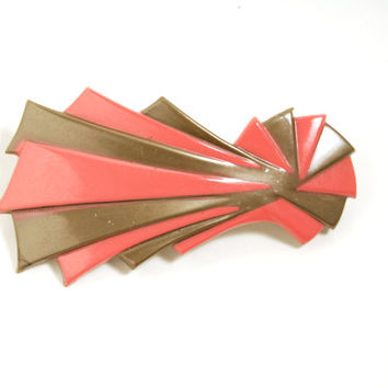 Vintage French Hair Barrette Clip Pink StarBurst Lucite Plastic