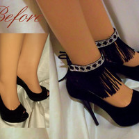 Beautiful Black And White Ankle Glams, Anklets, Ankle Bracelets, Ankle Cuffs, Leg Accessories, Shoe Accessories, Pretty & Sexy Accessories