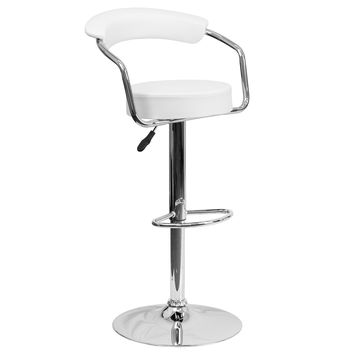 Retro Kitchen Home Office Den Chrome Frame Bar Counter Stools Chairs 9-Colors #1060 (White)