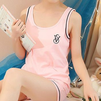 One-nice™ Victoria's secret Pink Two pieces of cotton sleeveless pajamas for lovely household pajamas nightwear