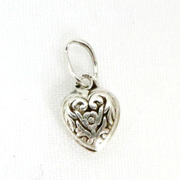 Vintage Sterling Silver Scroll Heart Charm