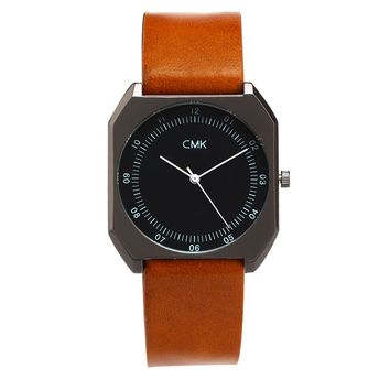 Brand Luxury Leather strap Men Watch Fashion Casual Sports Quartz Wristwatch Simple Square Dial Women Watches 10 Color Clock