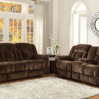 2 pc Laurelton collection chocolate champion fabric upholstered double reclining sofa and love seat set
