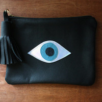Evil Eye // All Seeing Eye// Black Leather Clutch Purse // Black Leather, Holographic and Blue Accents // Eye of Fatima