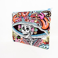 Fabric Zipper Pouch, Zipper Pouch, Pouch, Skeleton Pouch, Cosmetic Bag, Toiletry Bag, Large Zipper Case, Gift for Her, Day of the Dead Case