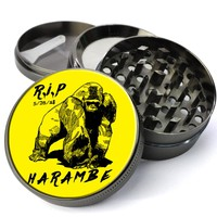 R.I.P. Harambe Gorilla Cincinnati Zoo Extra Large 4 Chamber Spice & Herb Grinder With Microfine Screen