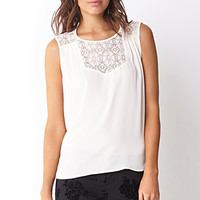 LOVE 21 Ethereal Crochet Trimmed Top Cream