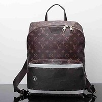 Perfect Louis Vuitton Leather Bookbag Shoulder Bag Handbag Backpack