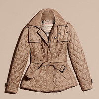 Quilted Trench Jacket with Detachable Hood Pale Fawn