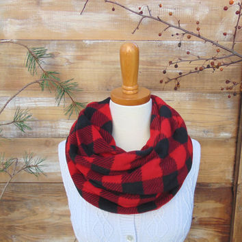 Buffalo Plaid FLEECE Infinity Scarf, Plaid Scarf, Plaid Scarf in Red and Black Check, Womens Scarf, Winter Scarf, Lumberjack, Men, Gift Idea
