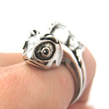 3D Adjustable Iguana Chameleon Animal Wrap Around Hug Ring in Shiny Silver