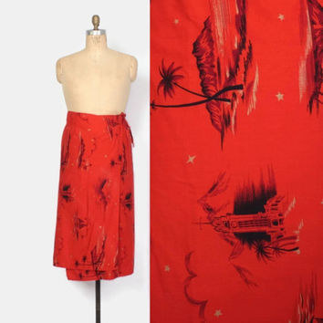 Vintage 50s Hawaiian Sarong SKIRT / 1950s Tomato Red Surf and Shore Novelty Print Wrap Skirt M - L