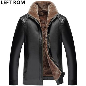 LEFT ROM New Winter leather jackets Men Fashion Faux Fur Coats male casual motorcycle leather jacket Thicken Outwear Overcoat