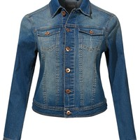 LE3NO Womens Classic Long Sleeve Fitted Washed Denim Jean Jacket