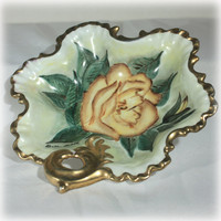 Rose Candy Dish, Rose Soap Dish, Flower Bowl, Handled Bowl, Beth Pohll, Hand Painted, Mid Century Modern