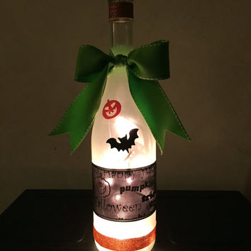 Halloween Pumpkin Bat wine bottle lamp, Happy Halloween decor, accent lamp, Fall decorations