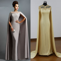 Evening Dress Long Grey Sheer Necklace With Cape Chiffon Formal 2017 robe de soiree abendkleider kaftan abaya in dubai Dresses