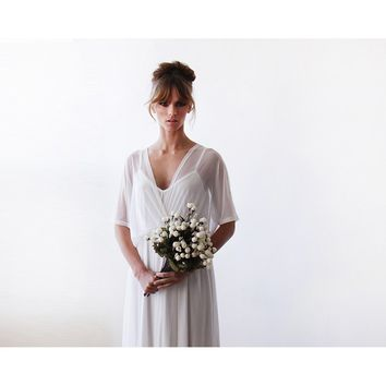 Ivory sheer chiffon batwing sleeve bridal dress 1027