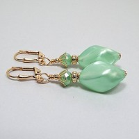 Pearly Light Green Drop Earrings, Beaded Dangle, Gold Plated, Spring Summer, Made with Vintage Lucite Beads, Lever Back Hook