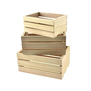 Wood Caddy Crate Set, Natural, Assorted Sizes, 3-Piece