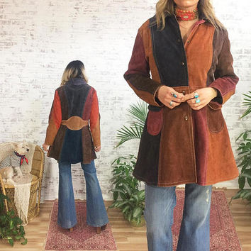Vintage 1960's GASSY JACK Rare Suede Patchwork Hippie Snap Button Colour Block Jacket || Size Medium