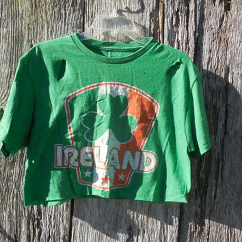 One of a kind Ireland cut off crop top distressed ripped post apocalyptic ultra short rave burning man street wear Irish Pride St Patricks