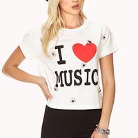 FOREVER 21 Bejeweled I Love Music Tee Ivory/Black Large