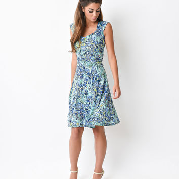 Retro Style Blue Floral Masterpiece Flare Dress