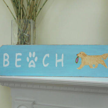 Beach Sign Golden Retriever Art Dog Wood Beach Sign BEACH/ Hand Painted Signage / Plaque Wall Hanging