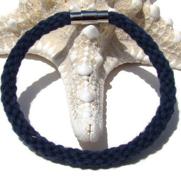 Cozy Collection-- Navy blue kumihimo bracelet with stainless steel magnetic clasp