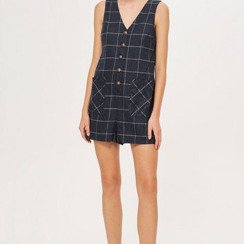 Windowpane Check Romper | Topshop