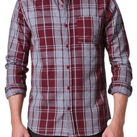 On The Byas Pete Marled Plaid Long Sleeve Woven Shirt - Mens Shirt