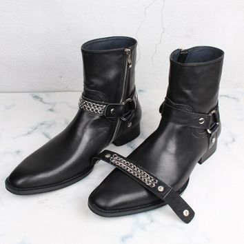 2018 Handmade Chelsea Boots Men's  Zipper High Shoes Black Leather Knight Boots  Luxury Brand Shoes Kanye West Winter Boots