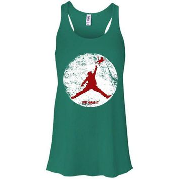 ICIKHD9 Donald Trump Jordan Air Just Grab It Grab Bella + Canvas Flowy Racerback Tank
