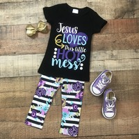 RTS Jesus Loves This Hot Mess Floral 2pc Set D14