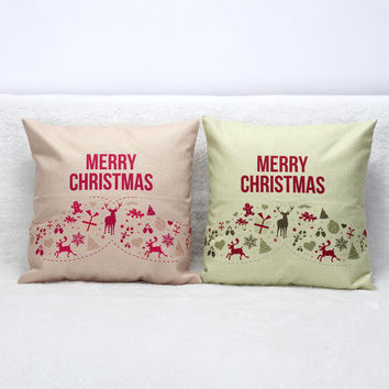 3D Merry Christmas Cotton Pillow Covers Luxury Home Seat Chair Bed Throw Pillow Case