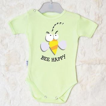 Cute Infant Clothes.  Funny Bee Happy Baby Bodysuit. Baby Bodysuit with Cute Bee Print. Many Colors Available.